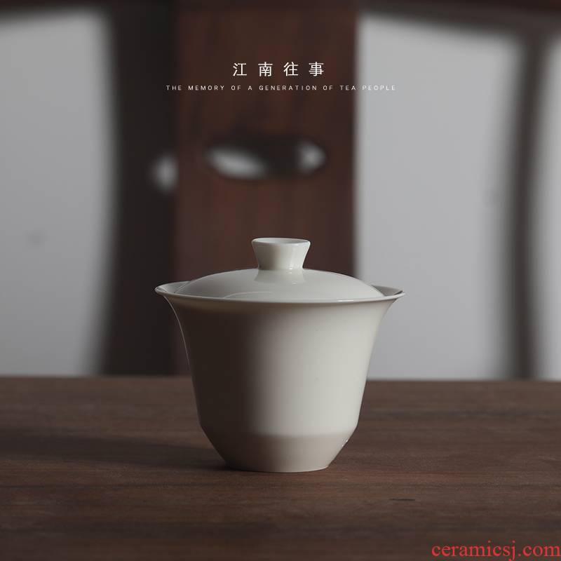 Jiangnan past yulan kung fu tureen ceramic tea set tea tea bowl three cups of a single cup tea tureen