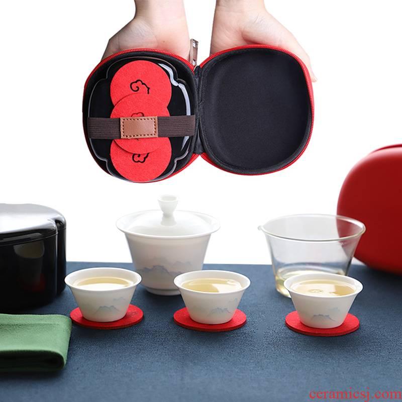 The Escape this hall travel tea set crack cup portable jingdezhen porcelain tea set office travel car tea sets