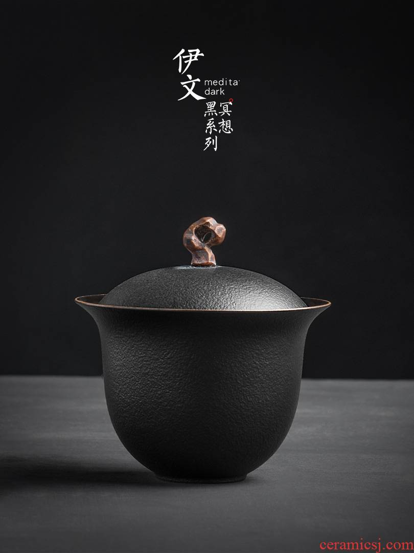 Evan tureen of pottery and porcelain teacup Japanese household to use with single kung fu tea tea is simple bowl of the big three