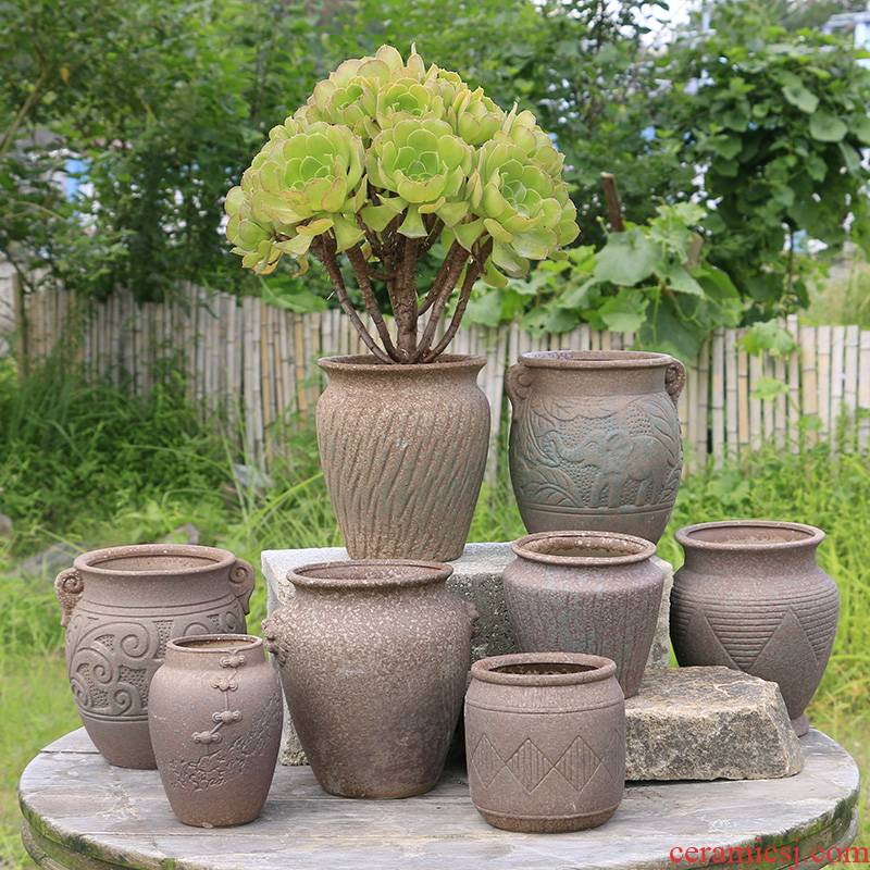 Fleshy flower pot through pockets tao old running of meat the plants more purple orchid ceramic POTS mage, extra large flower pot