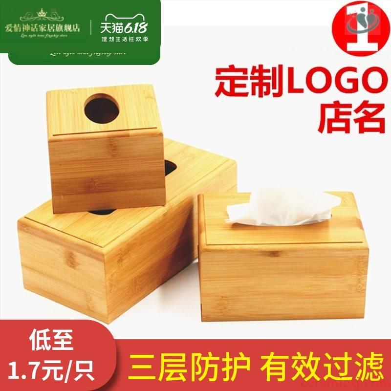 Bamboo and wood tissue boxes custom LOGO tea restaurant club hotel hotel napkin box box advertising gifts