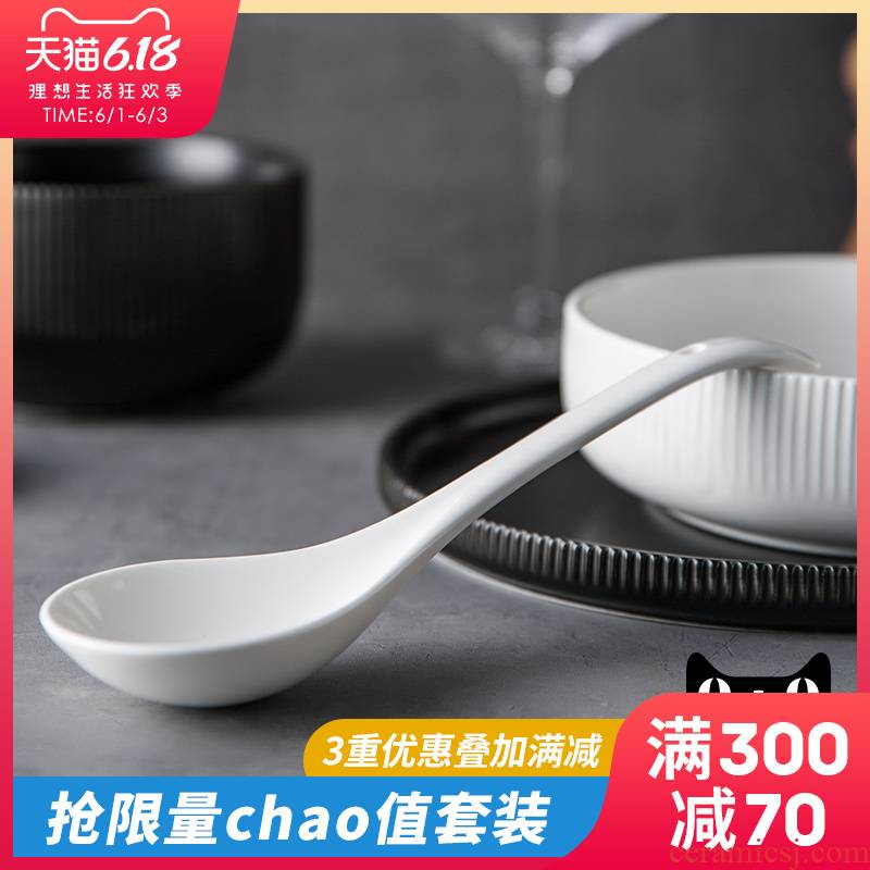 Ijarl Nordic household ceramic spoon contracted spoon big spoon to eat spoon, small spoon FanPiao spoons