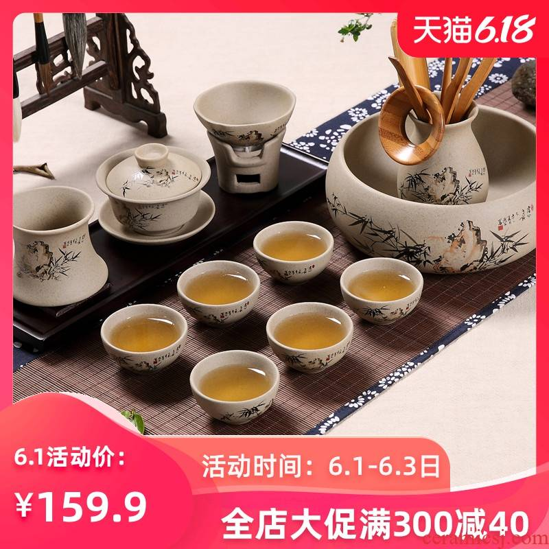 The Home office coarse pottery kung fu tea tea tureen suit ceramic cups of a complete set of earthenware Japanese restoring ancient ways