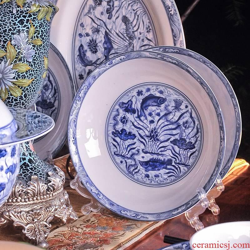 8 hx jingdezhen suit bowl dish dish ceramic tableware archaize Ming xuande mackerel algal grain bulk sale