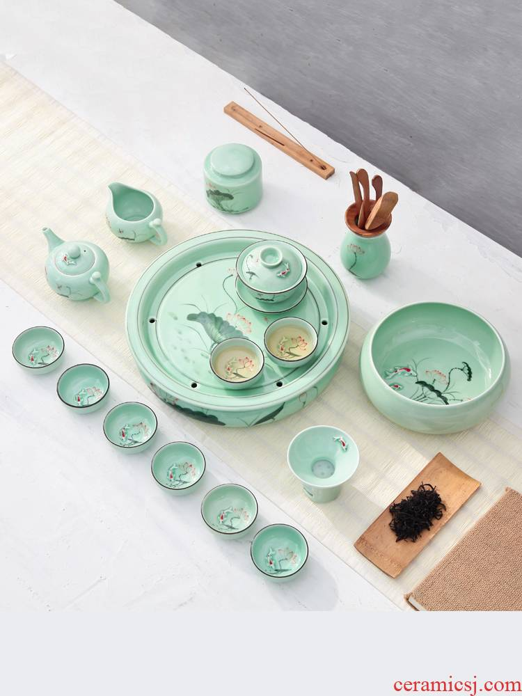 The Household of Chinese style longquan celadon ceramics hand - made lotus ceramics kung fu tea set teapot teacup tea tray is contracted