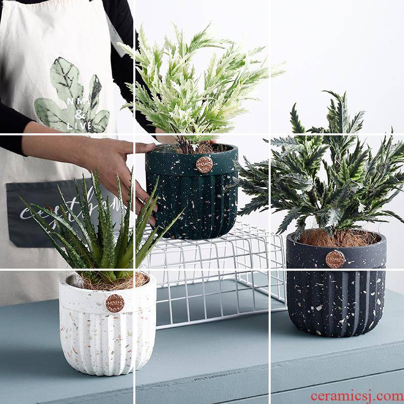 Nordic indoor cement flowerpot ceramic household bonsai pot orchid balcony more creative garden cultivation of move