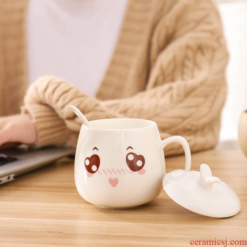 Ceramic keller female male coffee cup express cartoon cup with cover ultimately responds a cup of oatmeal milk cup cup