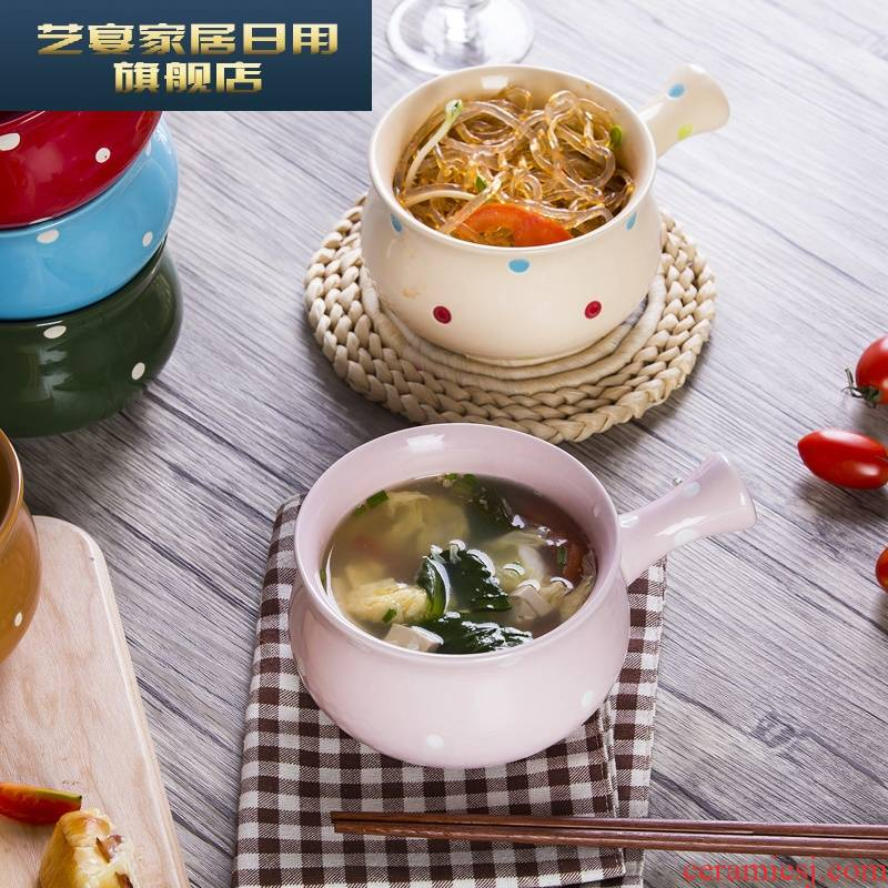 1 hj American creative wave point ceramic bowl of breakfast, lovely rainbow such always handle mercifully soup bowl bowl picking tableware