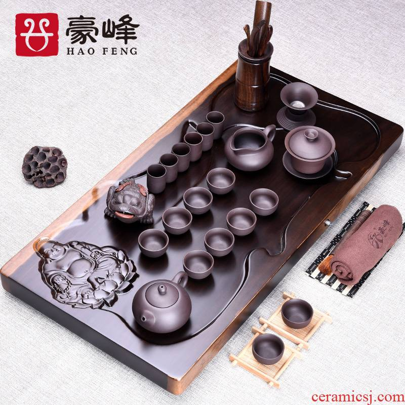 HaoFeng sheet of the ebony kung fu tea tea tea tray table office suit carved tea family tea