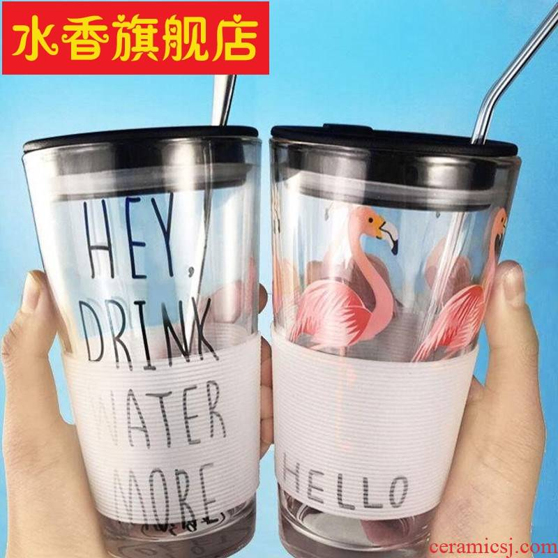 Creative with cover the spoon straws heat - resistant glass glass scale water cup express picking cups of tea cups