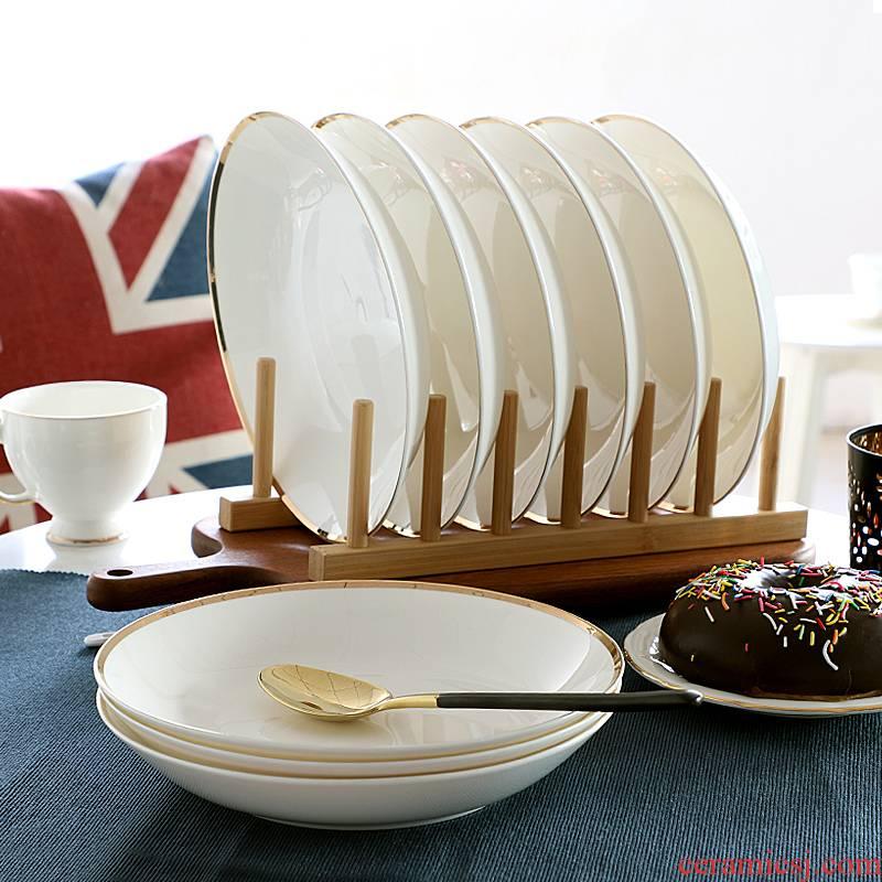 8 inches up Phnom penh ipads porcelain dishes son home round FanPan light dessert European key-2 luxury tableware 6 sets