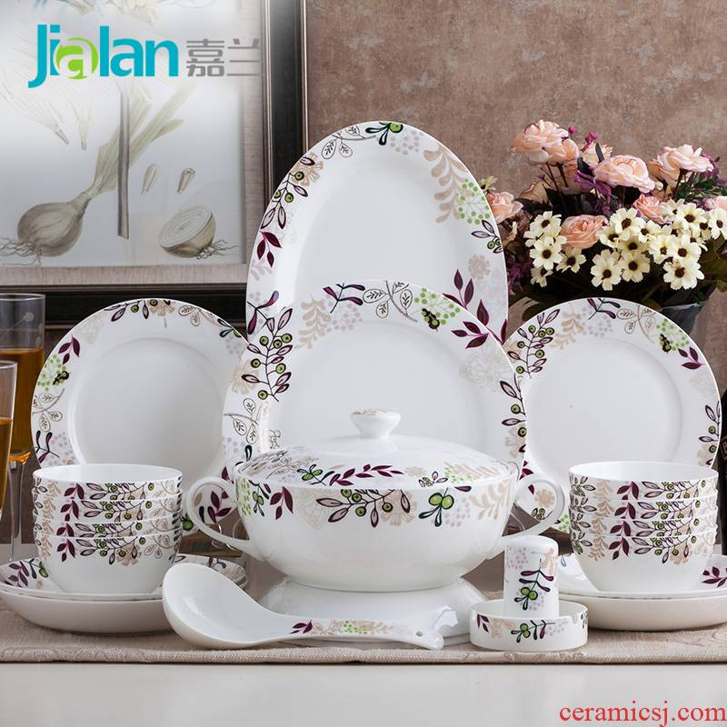 Garland 58 tangshan ipads porcelain tableware suit wheatgrass new Chinese style is contracted ceramic dish dish suits for