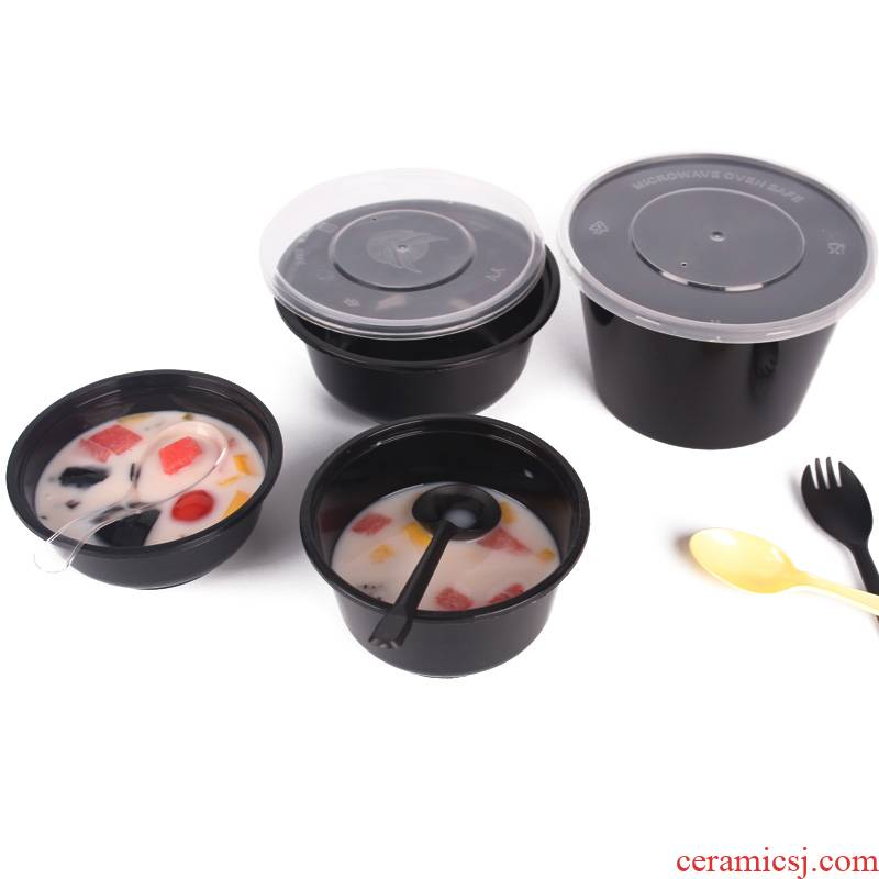 The Disposable lunch box circular 1000 ml with cover ltd. always porringer takeout cutlery packaging mooring ice powder.
