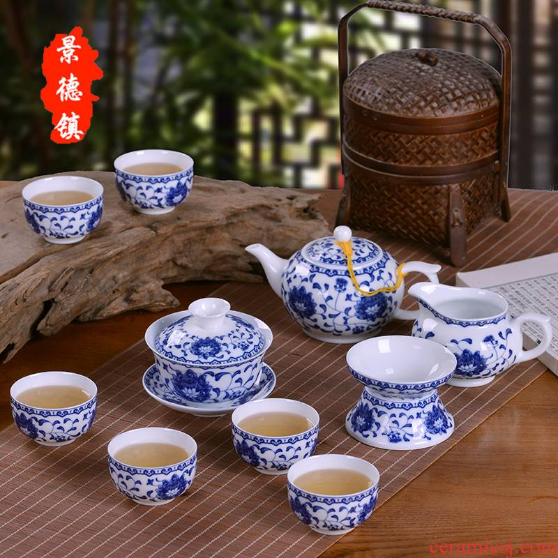 Jingdezhen porcelain ceramic kung fu tea tea tureen teapot thin foetus Chinese style household office gift set