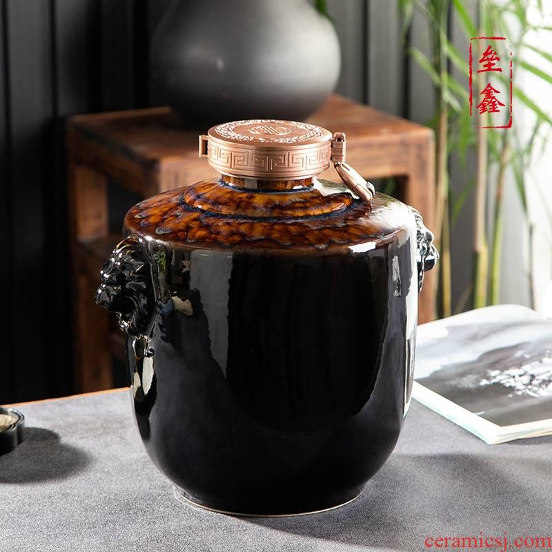 Jingdezhen ceramic household seal wine jar hoard 3/5/10/20/30 jin hip flask the an empty bottle mercifully wine