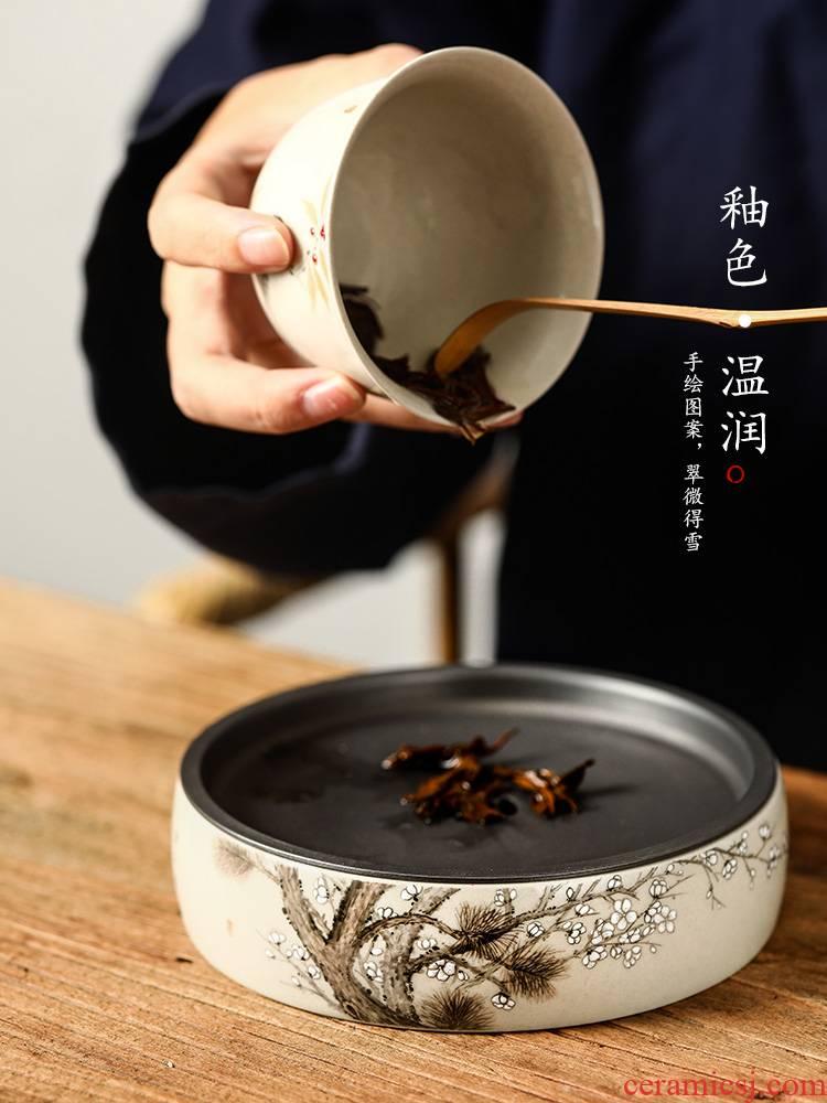 Pot of bearing dry mercifully machine saving water cup mat tea zen Chinese jingdezhen hand - made plant ash kung fu tea accessories