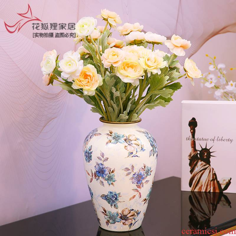 American light key-2 luxury ceramic vase furnishing articles sitting room of TV ark, wine porch decoration floral flower decoration decoration