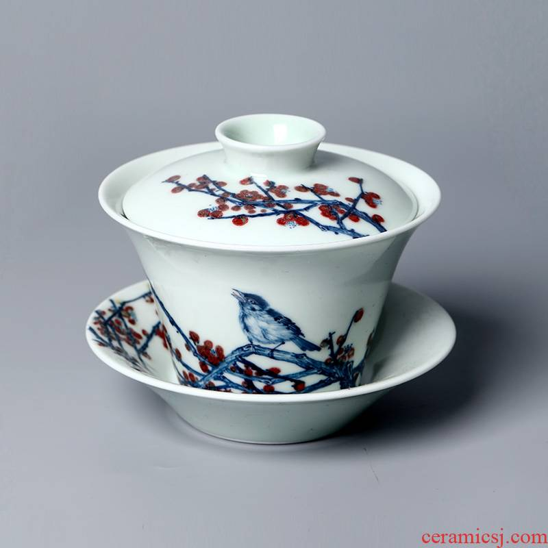 Jingdezhen porcelain youligong jettisoned beaming only three month red hand - made tureen hot large single tea bowl
