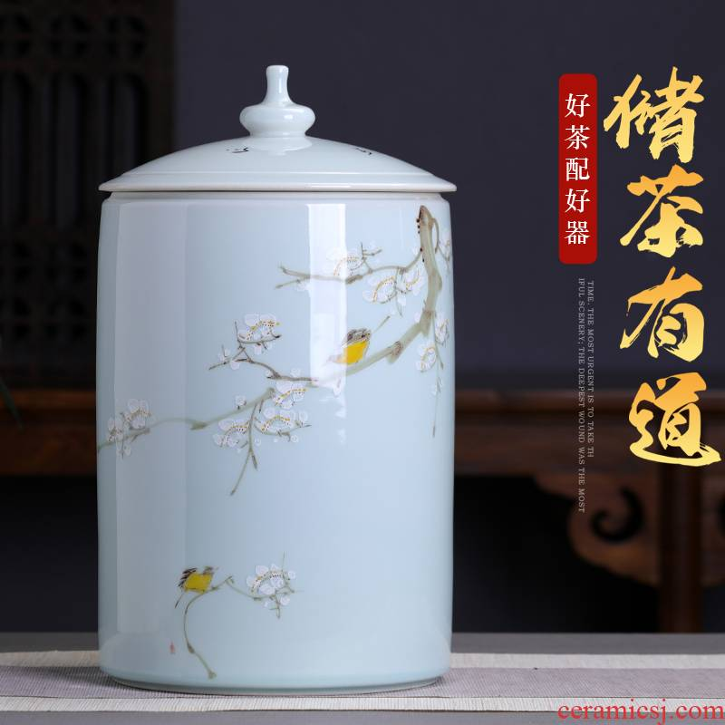 5 jins of extra large size raw 's storage sealed as cans of pu' er tea pot ceramic tea cylinder seven cake collection tank
