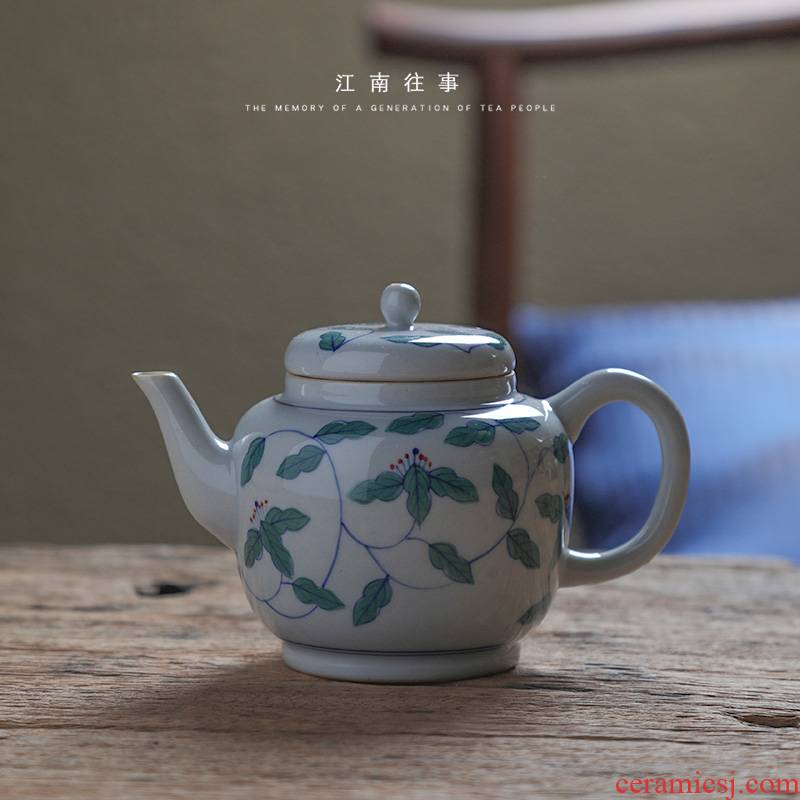 Jiangnan jingdezhen manual coloured drawing or pattern twinned trunks past ceramic teapot Chinese kung fu tea set household teapot
