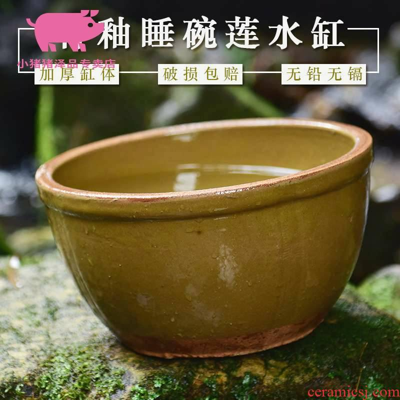 Water lily flower pot earthenware Water lily home lotus fish bowl lotus basin courtyard landscape old kitchen tank JiangGang
