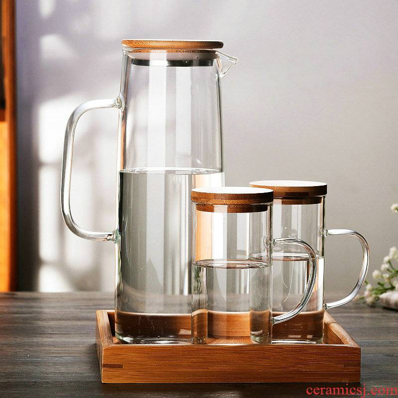 Nordic cold wind heat - resistant glass teapot cool water kettle set of suit with bamboo juice pot cover glass cups