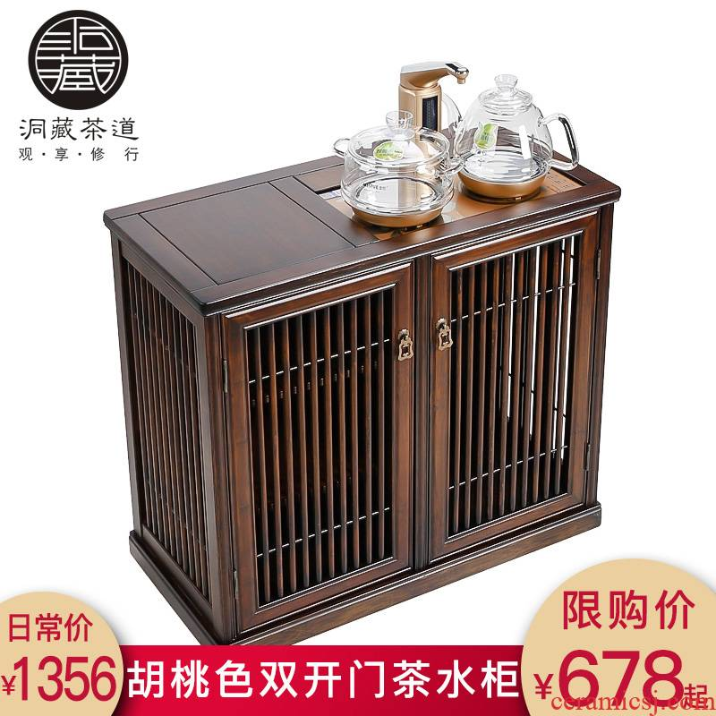 In building the walnut color mobile boiling water tea tank automatic one tea bench small vertical to their Chinese ark cabinet