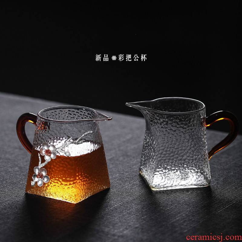 Japanese male hammer glass cup four justice cup upset with the kombucha tea high - grade points tea is tea cups