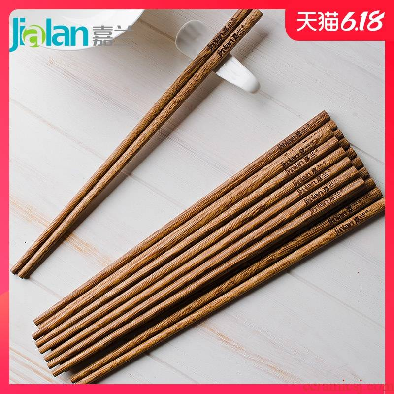 Garland wings 10 pairs of wooden chopsticks with household Japanese without lacquer idea for mahogany wood tableware family suits for