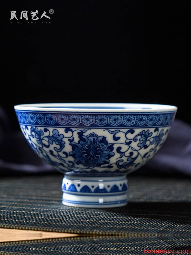 Folk artists hand - made sweet wind branch best master cup single cup, blue and white porcelain is jingdezhen ceramic high - end large cups