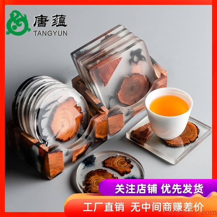 Pine resin cup mat tea sets accessories tea domestic cup mat bamboo bamboo kung fu tea saucer pad