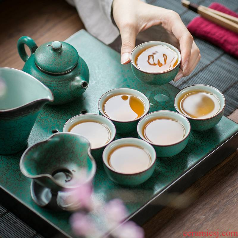 Kung fu tea set tea service of a complete set of ceramic teapot restoring ancient ways suit household tea dry tea six people