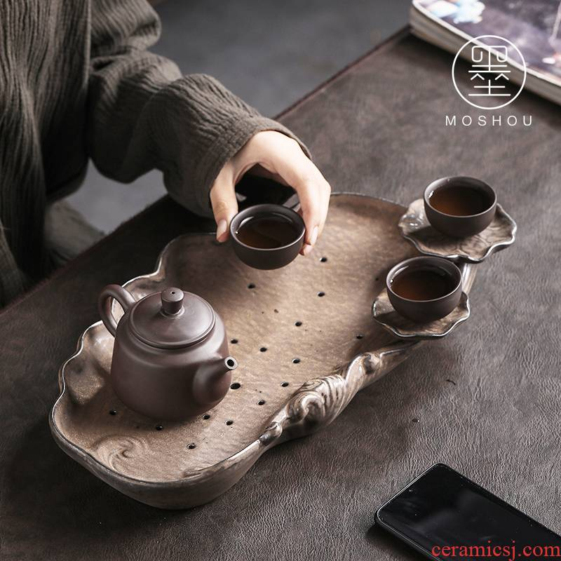 By purple sand tea tray was dry tea set tea service of household water storage type tea table I and contracted dry tea tray