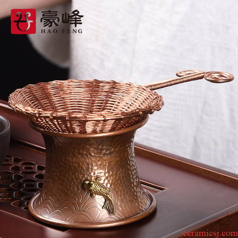 HaoFeng copper copper) tea accessories hand tight hoop modelling tea good kung fu tea sets with the base
