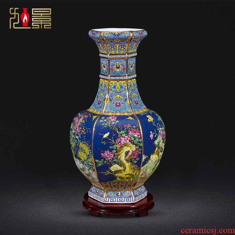 Chinese pottery and porcelain vase furnishing articles jingdezhen colored enamel flower arranging living room TV cabinet decorative imitation antique handicrafts