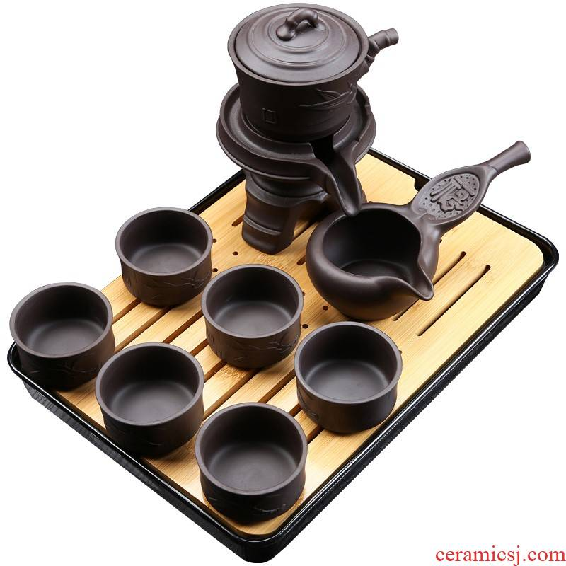Violet arenaceous semi automatic stone mill of a complete set of lazy household solid wood tea set kung fu tea tray drawer tea pot