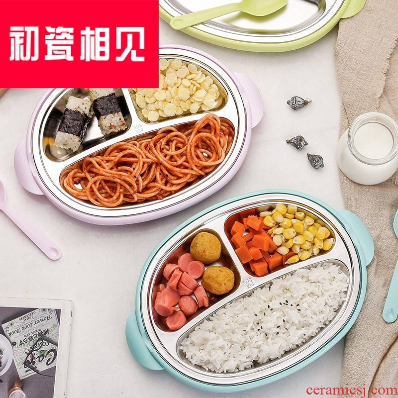 Porcelain meet each other at the beginning of 304 stainless steel, the children home meal plate express cartoon tableware frame plate baby children to eat