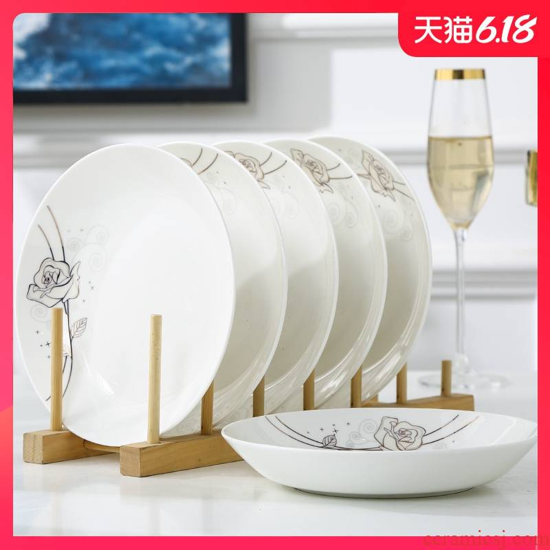 """Garland plate ipads porcelain child suit dish dish dish home 8 inches round word """"dumpling"""" continental plates deep soup plate"""