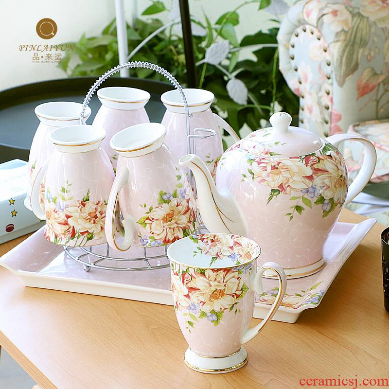 Cup suit household ceramic Cup tray was water sitting room European - style heat - resisting teapot teacup kettle gift box
