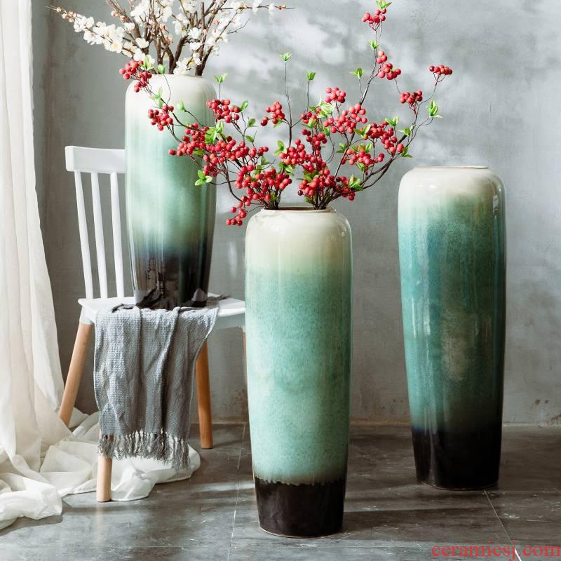 Jingdezhen large simulation flower, dried flower vase decoration furnishing articles sitting room be born Chinese flower arranging ceramic creative household