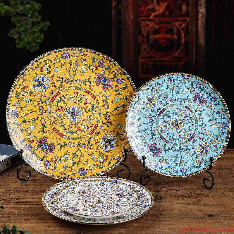 Steak enamel Mosaic gold plate edge ceramic round western home dishes shallow dish dish dish of Pacific Ocean plate