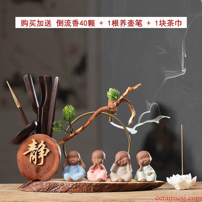 Tea six gentleman 's suit ebony wood kung fu Tea accessories brush pot elder brother up to the young monk Chinese zen furnishing articles
