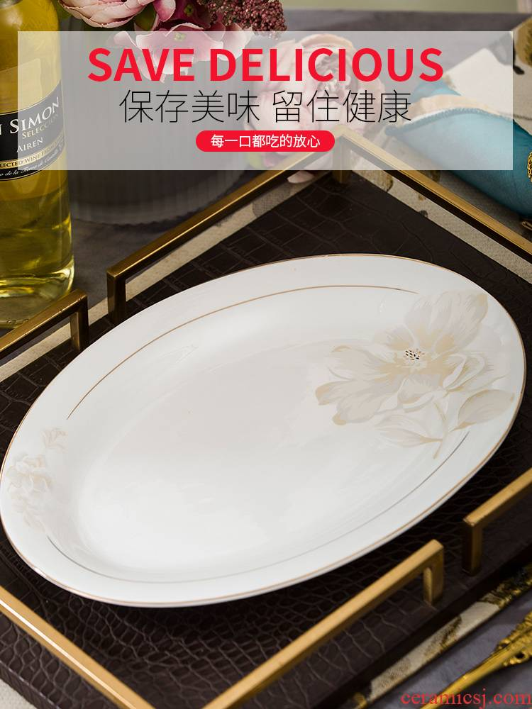 Jingdezhen ceramic Japanese type deep dish fish dishes dishes suit creative household food dish oval large fish dishes