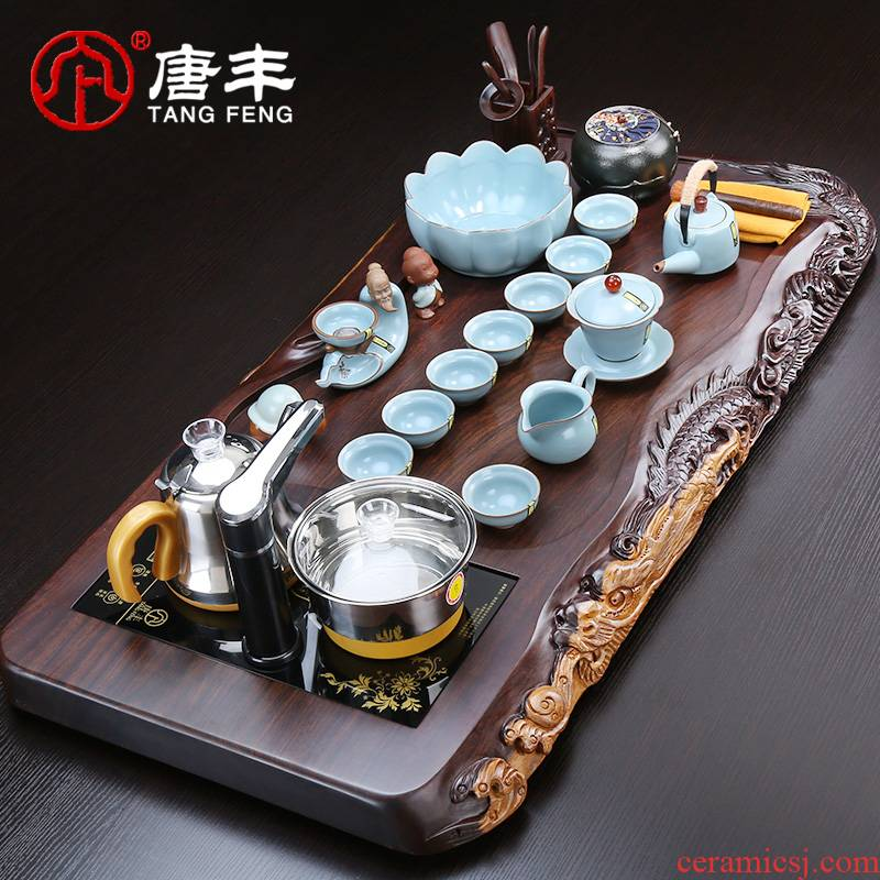 Tang Feng large ebony half the whole board manual its tea tray was kung fu tea set Z of a complete set of automatic electric furnace