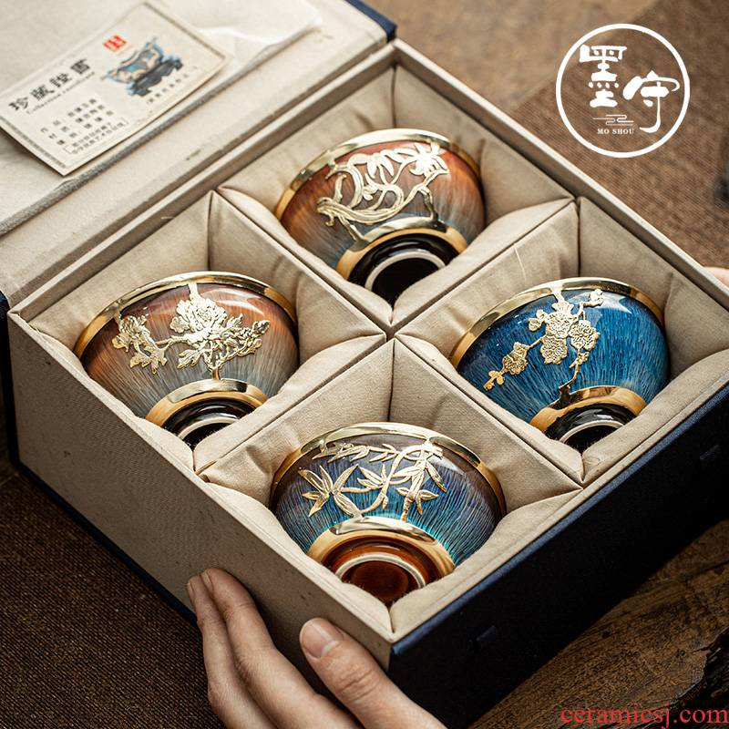 By jingdezhen an inset jades kung fu tea cup gold small sample tea cup By patterns built drawing masters cup
