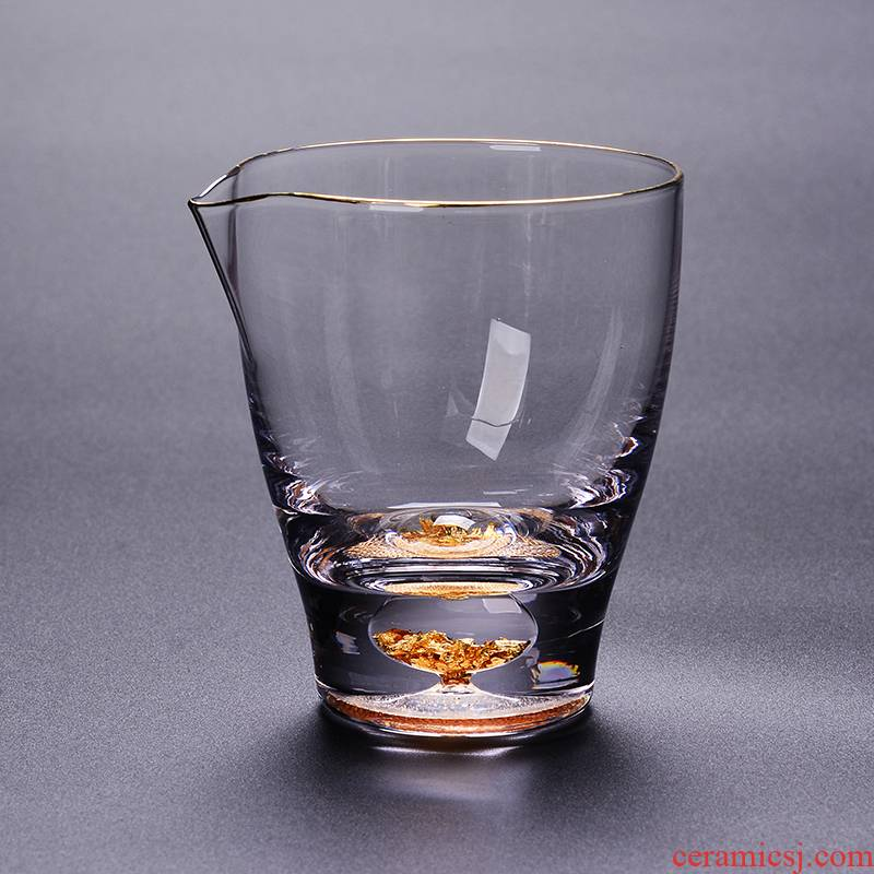 Japanese heat - resistant glass fair gold cup sect tea sea kung fu tea infuse gold points of tea ware crystal transparent cup
