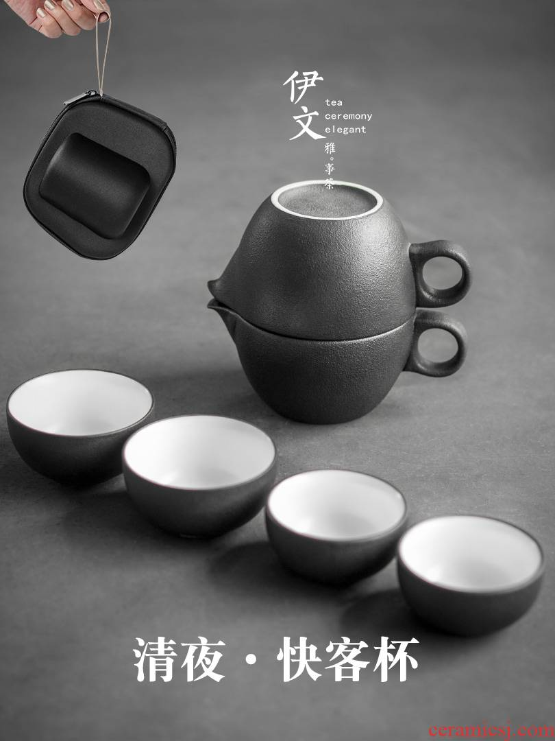 Evan ceramic travel kung fu tea set suit portable package crack cup is suing improvised a pot of four cups of Japanese
