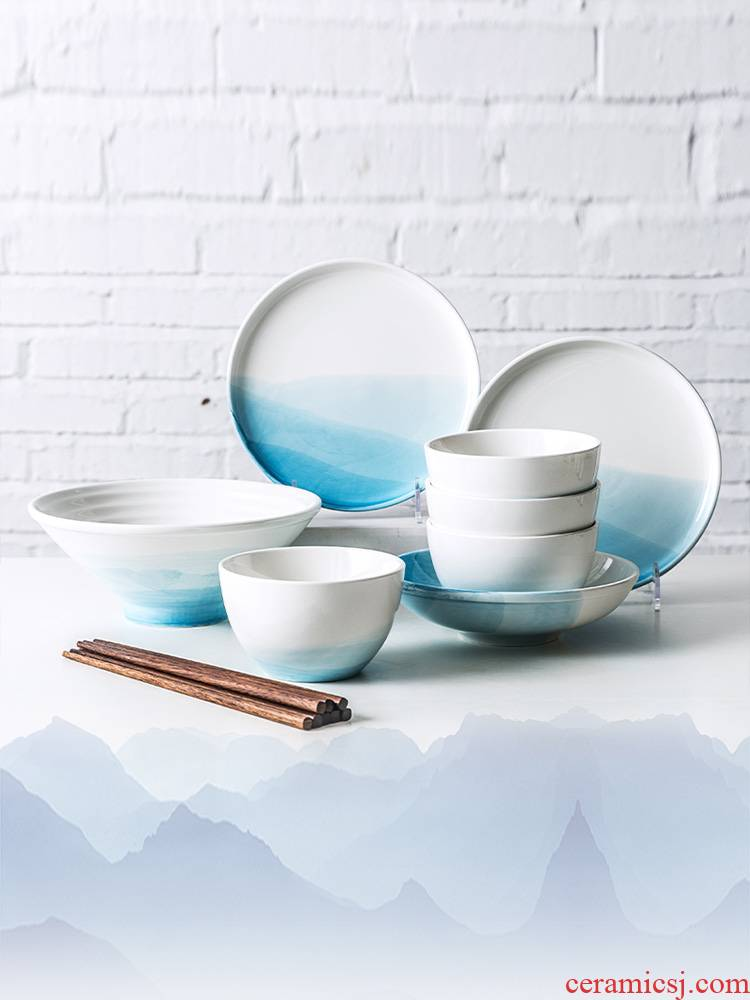 Ijarl new Chinese style suit good - & tableware beautiful eat dishes dishes home fresh and wedding gifts
