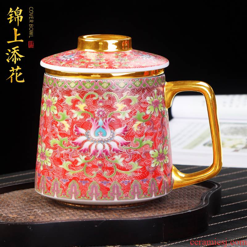 Artisan fairy colored enamel coppering. As silver glass ceramic tea cup with cover office filtration separation of tea keller