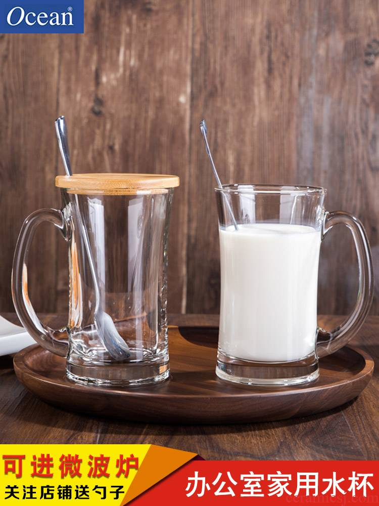 Ocean import European glass keller cup milk cup home office tea cup with a spoon